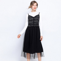 Women Sleeveless long strap dress big bottom Dress pinched waist casual vestido Plaid sarafan tank dress sundress Plus sizeL 5XL