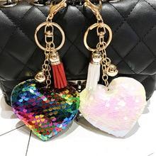 Plush Keychain Heart-Shaped Pendant Kpop-Accessories Kawaii Woman Cute Bag Sequin Shiny