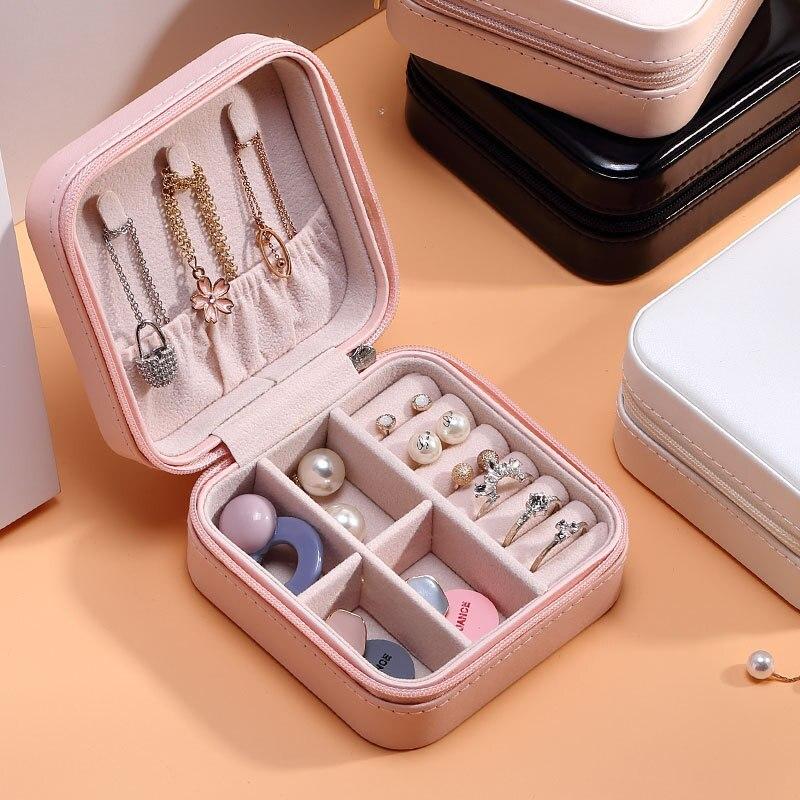 Luluhut, caja de cuero PU para almacenamiento de joyas, estuche de viaje, caja de joyería portátil, cremallera, organizador de cuero para almacenamiento de joyas 41x22,6 cm 5 agujeros anillo ranuras de cuerda gancho organizador de bufandas bufanda Wraps chal almacenamiento suspensión anillo gancho para corbatas cinturón Rack