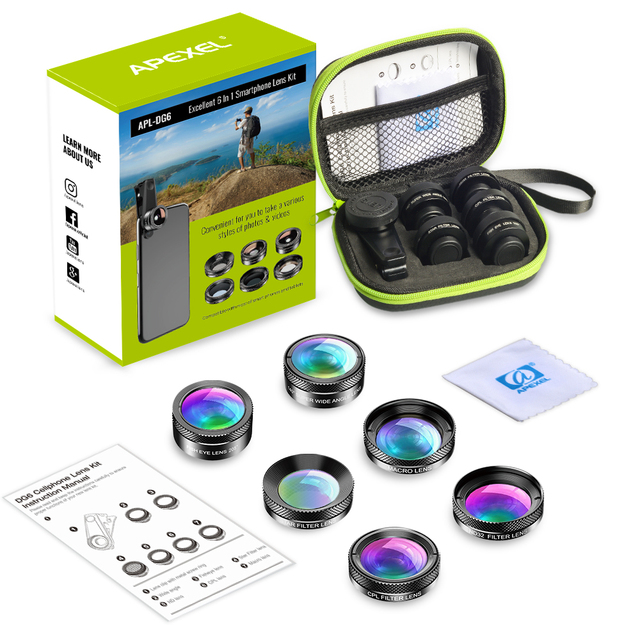 APEXEL New 6in1 Kit Camera Lens Photographer Mobile Phone Lenses Kit Macro Wide Angle Fish Eye CPL Filter For iphone Xiaomi mi9 6