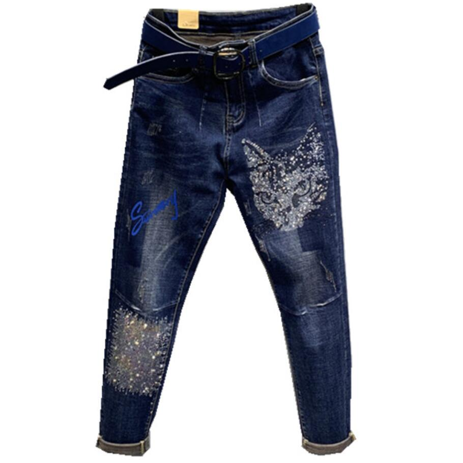 Cat hot drilling jeans women2020 spring autumn new fashion high waist loose Harlan pants