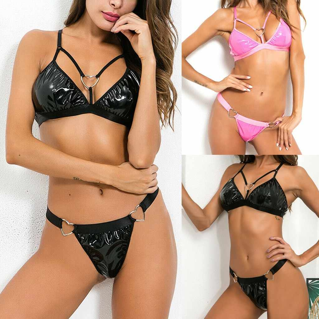 Fashion lingerie vrouwen Underpants Sexy Gesp Lakleren Pak Nat Lederen Lingerie Set Club Wear Ondergoed Set Met Thong