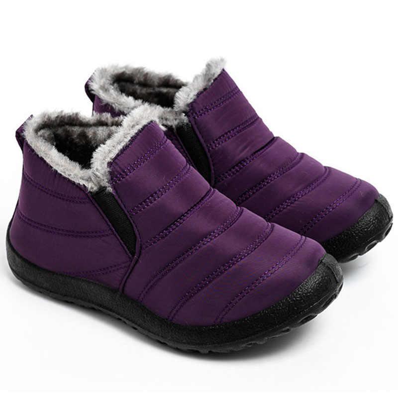 Kadın kışlık botlar Unisex çiftler kar botları kadın ayak bileği ayakkabı moda kış kadın ayakkabı bayanlar yarım çizmeler su geçirmez ayakkabı