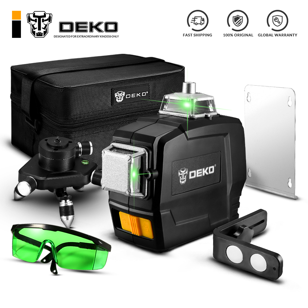 DEKO DKLL12PB1 12 Lines 3D Green Laser Level Horizontal And Vertical Cross Lines With Auto Self-Leveling, Indoors And Outdoors