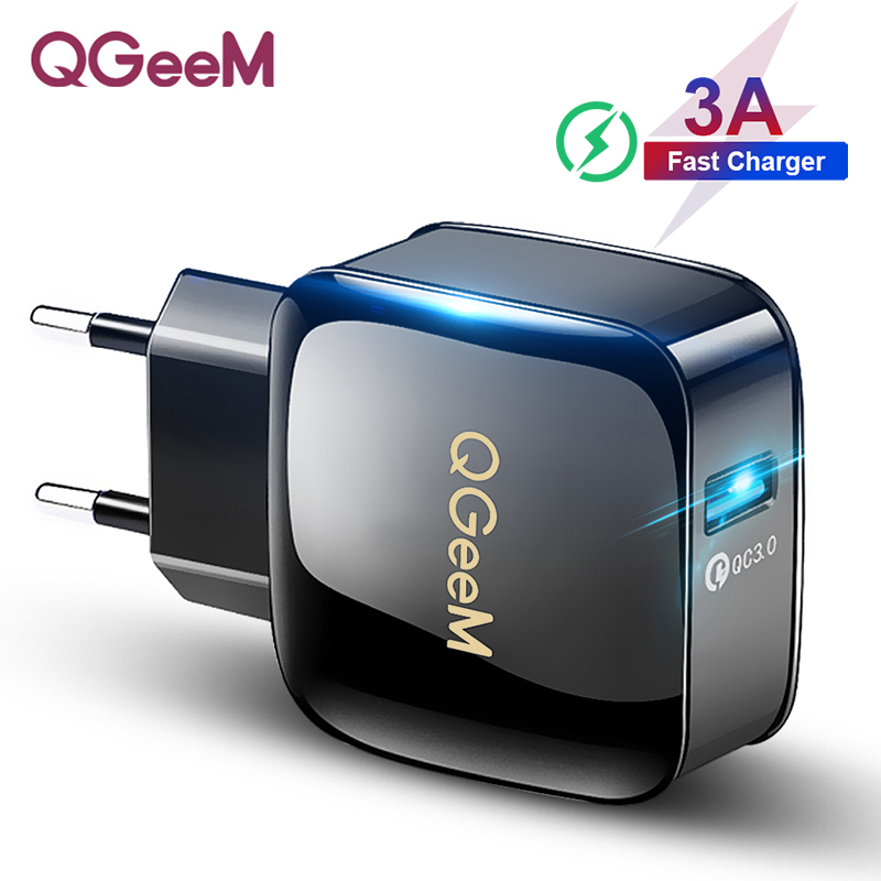QGEEM QC 3.0 USB Charger Quick Charge 3.0 Phone Charger for iPhone EU US Plug 12V Adapter Fast Charger for Huawei Samsung Xiaomi(China)