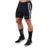 Pantalones cortos deportivos para hombre, pantalón corto de entrenamiento para culturismo y gimnasio, pantalón corto de chándal transpirable a rayas laterales para correr