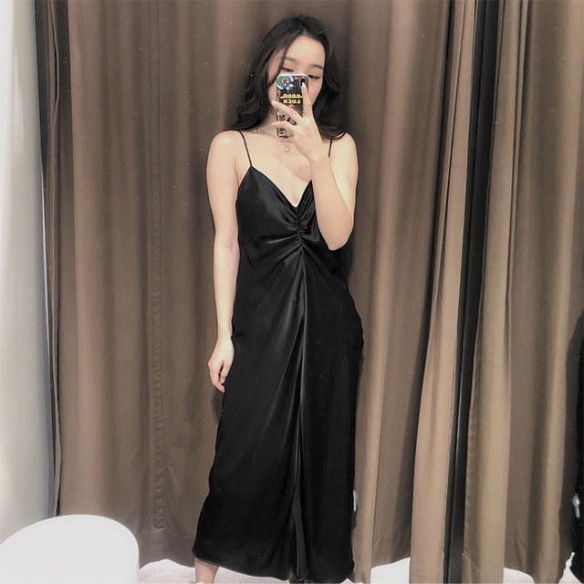 Qeils Women's Sexy Chic Fashion Pleated Solid V Neck Spaghetti Strap Mid-Length Dress Casual Vintage Open Back Dress Vestidos 2