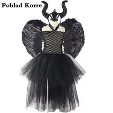Kinder Schwarz engel Maleficent Königin Kostüm Kinder Cosplay Halloween Phantasie tutu kleid Weihnachten Karneval Party Kleider Mädchen xx