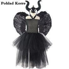 الأطفال السود الملاك Maleficent الملكة زي الاطفال تأثيري هالوين يتوهم توتو فستان عيد الميلاد كرنفال فساتين الحفلات الفتيات xx