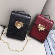 2019 Crocodile pattern leather Small bags women Shoulder chain mini Crossbody bag Female Ladies Messenger Bag 2018 women bag genuine leather crocodile pattern handbags women messenger bags crossbody female small shoulder bag