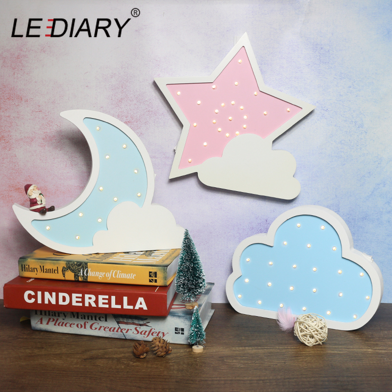 LEDIARY Wooden Night Light Bedside Lamp Moon Star Cloud LED Night Light Ramadan Room Decoration For Baby's Children's Bedroom