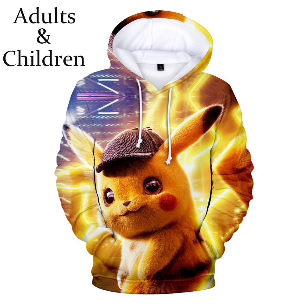 Kids Sizes Pokemon Detective Pikachu 3D Hoodie Pullover Coat Sweater Adult
