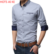 Office Shirt Business Long-Sleeve Social Slim Male Men Cotton