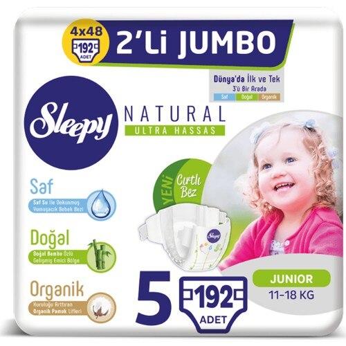 Sleepy Natural Panty Diapers Size 5 Junior 4 X2 Jumbo 192 Pieces