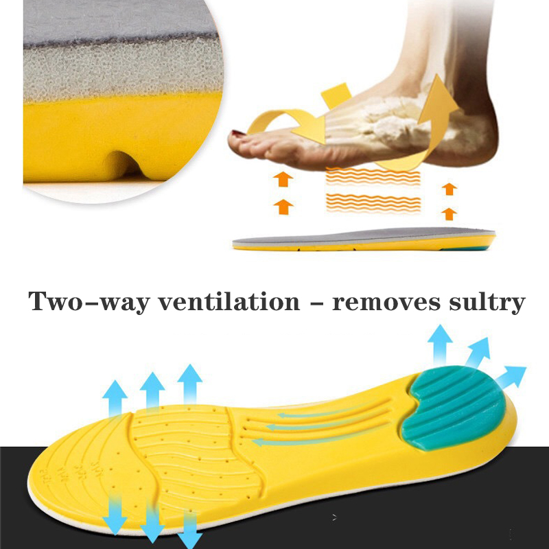 Memory Foam Sweat Outdoor Absorption Running Pads Sport Shoe Inserts Breathable Foot Care Insoles Male Size 35 48 Arch Support