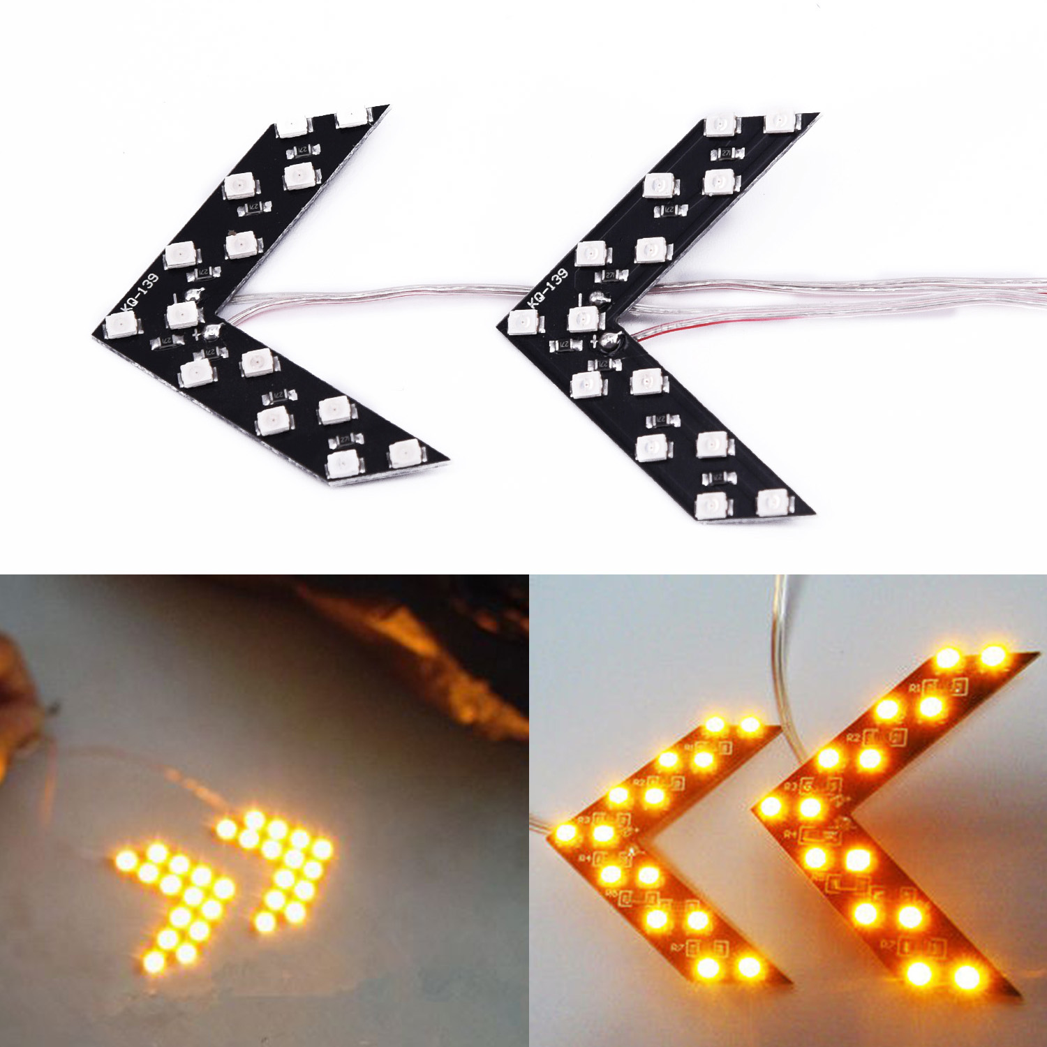 2pcs Car Truck LED Arrow Light Yellow 12V 5.5*4cm Side Rear View 14SMD  Mirror Indicator Turn Signal Brake Light
