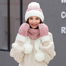 Winter Warm NEW 3Pcs Women Pom Pom Multicolor Knitted Venonat Beanie Hat+Scarf+Gloves Set Beanies Warm Knitted Bobble Girl(China)