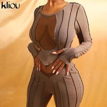Kliou-conjunto de dos piezas formado por Top y pantalón corto de manga larga, conjunto informal, otoño