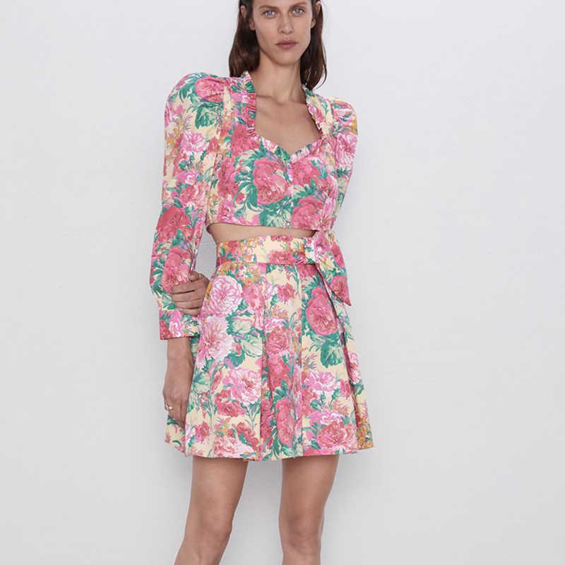 RR الأزهار المطبوعة التنانير النساء الموضة ألف خط تنورة صغيرة النساء أنيقة التعادل Blet الخصر التنانير الإناث السيدات HG