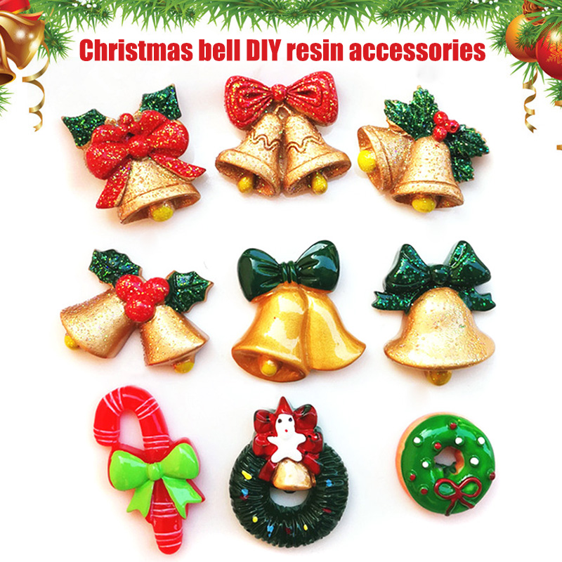 10 PCS Christmas Decoration Socks Santa Claus Xmas Tree Jingle Bell Deer Resin Ornament DIY Toy Hot Sales