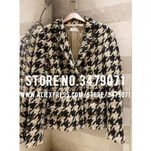 Винтажная клетчатая твидовая куртка зимняя высококачественная женская элегантная приталенная куртка с отворотом высококачественное пальто на заказ шелковая подкладка