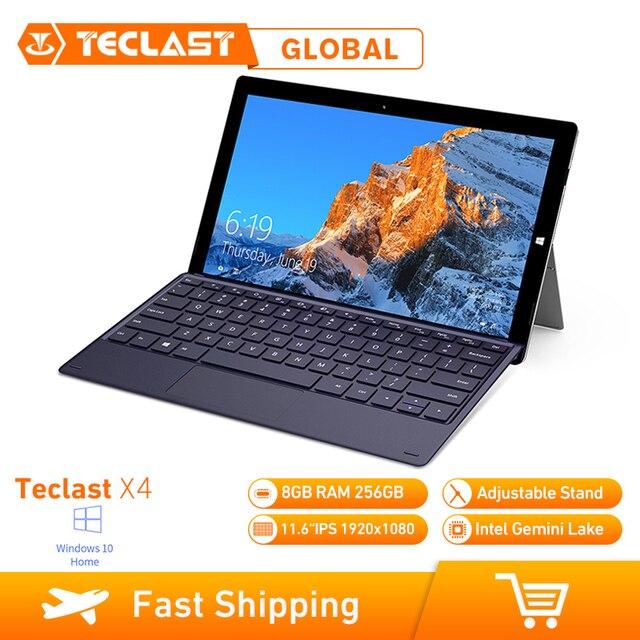 Teclast X4 2 ใน 1 แท็บเล็ตแล็ปท็อป 11.6 นิ้ว Windows 10 Celeron N4100 Quad Core 1.10GHz 8GB RAM 256GB SSD HDMI แป้นพิมพ์แท็บเล็ต