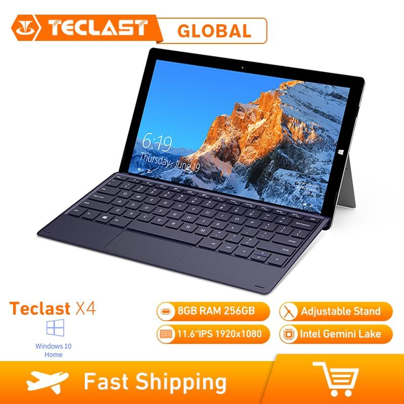 Teclast X4 2 en 1 tablette ordinateur portable 11.6 pouces Windows 10 Celeron N4100 Quad Core 1.10GHz 8GB RAM 256GB SSD HDMI avec clavier tablette
