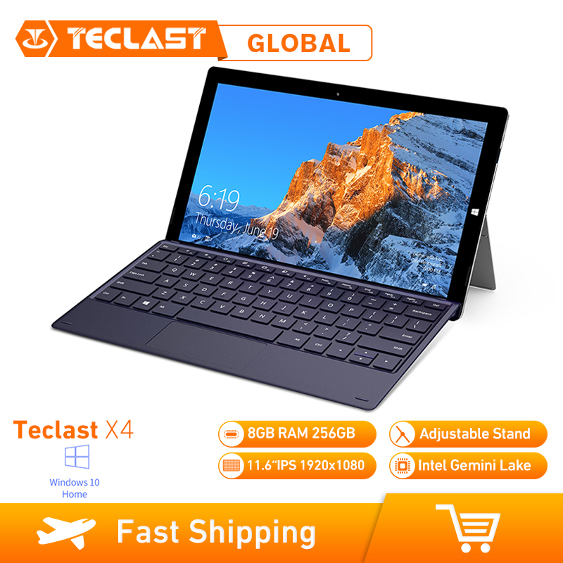 Teclast X4 2 en 1 tablette ordinateur portable 11.6 pouces Windows 10 Celeron N4100 Quad Core 1.10GHz 8GB RAM 256GB SSD HDMI avec clavier tablette
