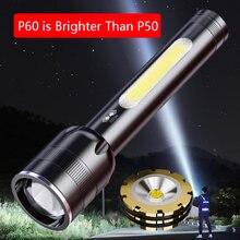 Мощный яркий Перезаряжаемый светодиодный фонарик p60 высокой