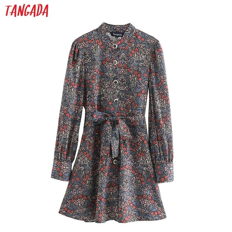 Tangada Women Elegant Short Dress With Slash Floral Printed Long Sleeve 2020 Office Lady Mini Dresses Vestido 5Z23
