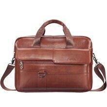 Мужская кожаная сумка высокого качества, деловой портфель, модные брендовые кожаные сумки для ноутбука, мужские сумки на плечо для компьютера, кожаный портфель s