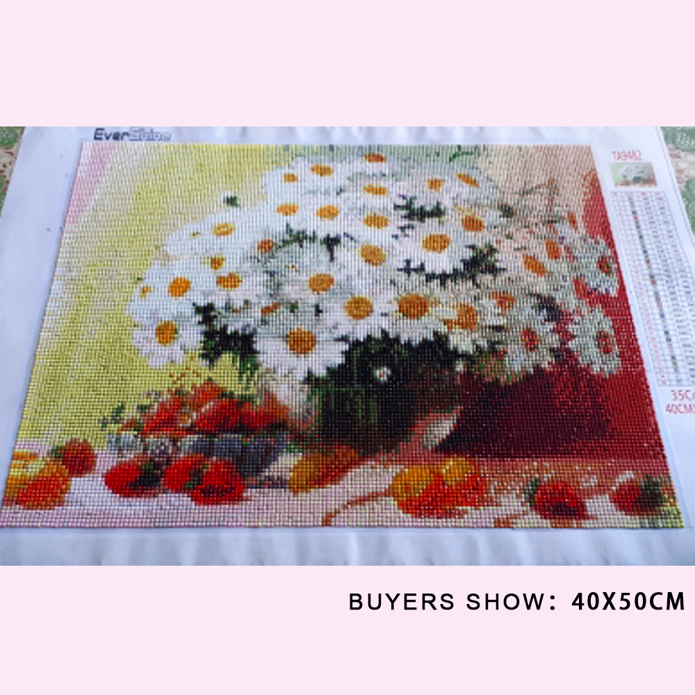 Evershine Diamond Painting Flowers Rhinestone Mosaic Diamond Embroidery Daisy Flower Cross Stitch Mosaic Diamond Home Decoration-1