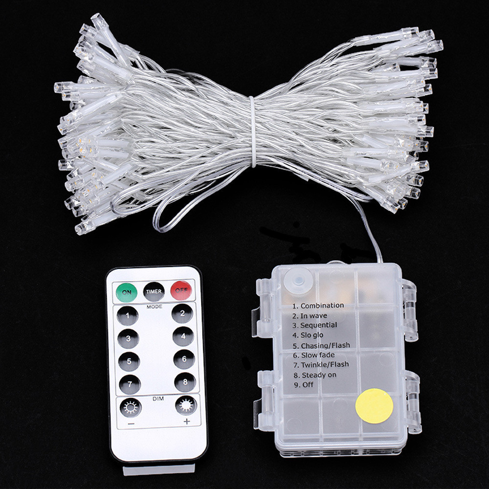 50/100/160 светодиодный s светодиодный гирлянда Батарея работает с 8 режимов Дистанционное Управление Рождество праздничное украшение для
