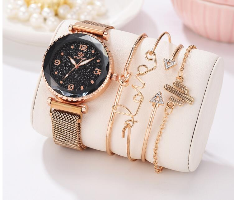 New Hot Stbb Quartz Watch Bracelet Set Of Five Fashion Ladies Watch Bracelet Set Leisure Classic