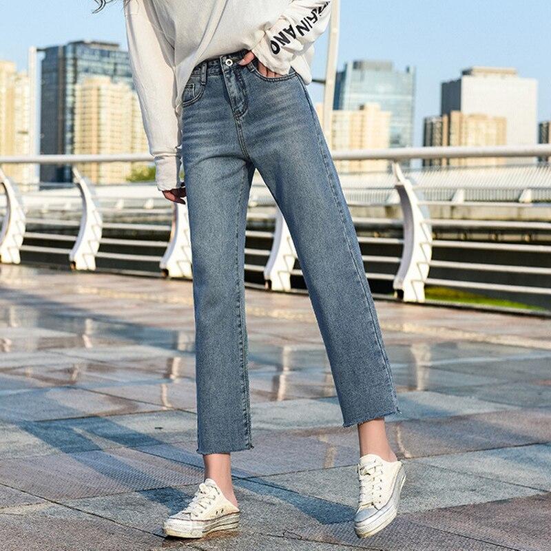 Korean Vintage Straight Jeans Loose Ankle-length Denim Pants Women Plus Size Mom Jeans Female Boyfriends Streetwear 2019