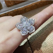 Rulalei High Quality Stunning Simple Fashion Jewelry 925 Sterling Silver Pave AAA Cubic Zirconia Women Wedding Flower Band Ring(China)