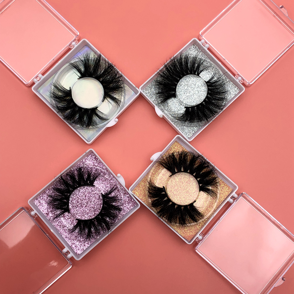 Mikiwi 25mm Lashes 30/50/100/200 Wholesale 3D Mink Lashes Square Case Free Custom Logo Packaging Label Makeup Box Mink Lashes