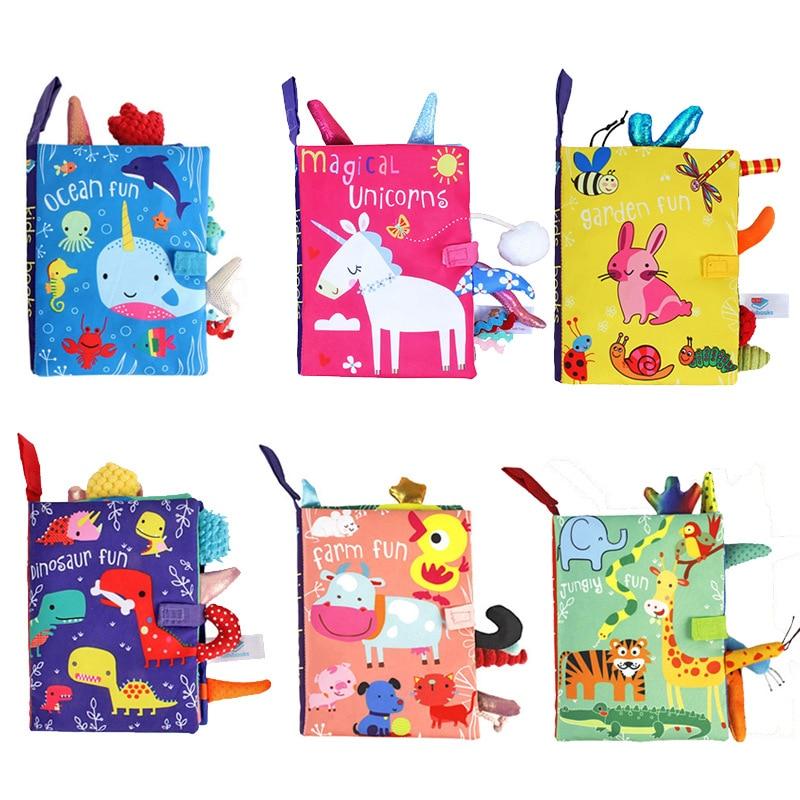 Детская мультяшная тканевая книга для новорожденных Ранние обучающие игры игрушки 0-24 месяца Рождество День рождения высококачественные п...