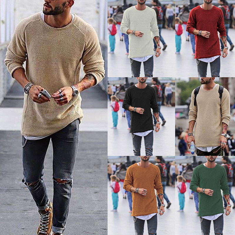 2019 Hot Men Sweaters O-Neck Solid Color Loose Cool Pullovers Spring Autumn Men Thin Knitted Sweater Men Fashion Streetwear