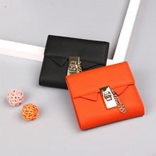 2020 New 100% Genunie Leather Buckle Ladies Short Wallet Fashion Ladies