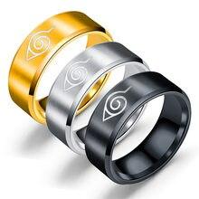 Novo design 8mm estilo japonês animação cosplay anel de aço inoxidável jóias titânio aço anel masculino