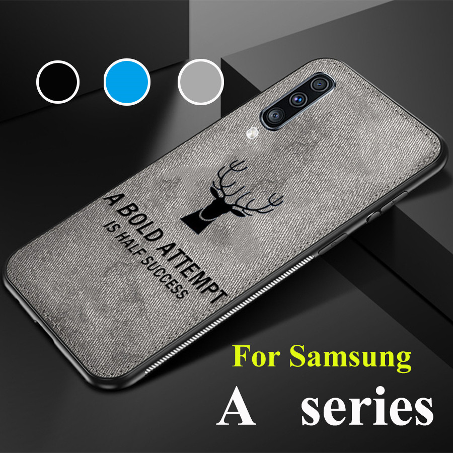 Cloth Soft TPU Phone Deer Case On For Samsung Galaxy A30 A50 A70 A10 <font><b>A20</b></font> A40 Fabric Cloth Cover Cases <font><b>Capa</b></font> A 30 50 70 <font><b>Sansung</b></font> image