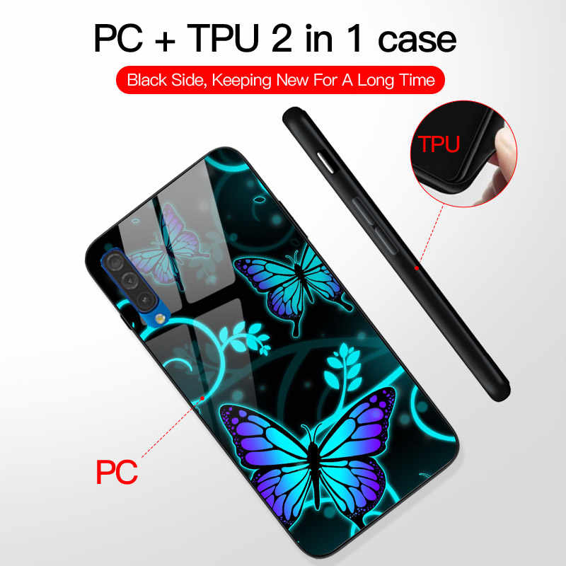 Parlak PC + TPU Samsung Galaxy A10 A20 A30 A40 A50 A70 A3 A5 A7 A6 A8 artı 2018 a10S A20S A30S A50S A20e durumda parlak kapak