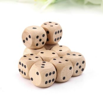 10pcs 6 Sided Wood Dice Point Cubes Round Corner Party Kid Toys Game 14*14*14mm  dice toys for adults