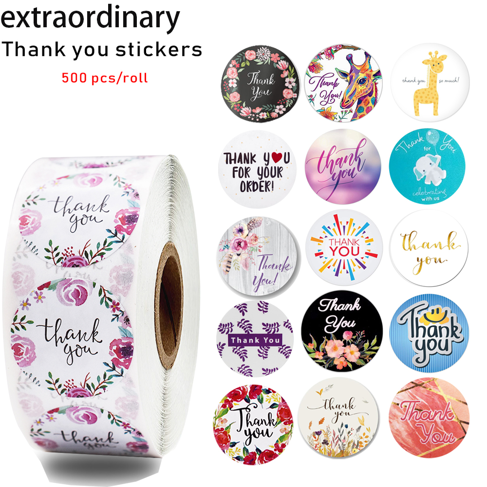 500 Pcs / Roll 17 Kinds Of Thank You Stickers Seal Labels Scrapbook Cute Decorative Stickers Stationery Stickers