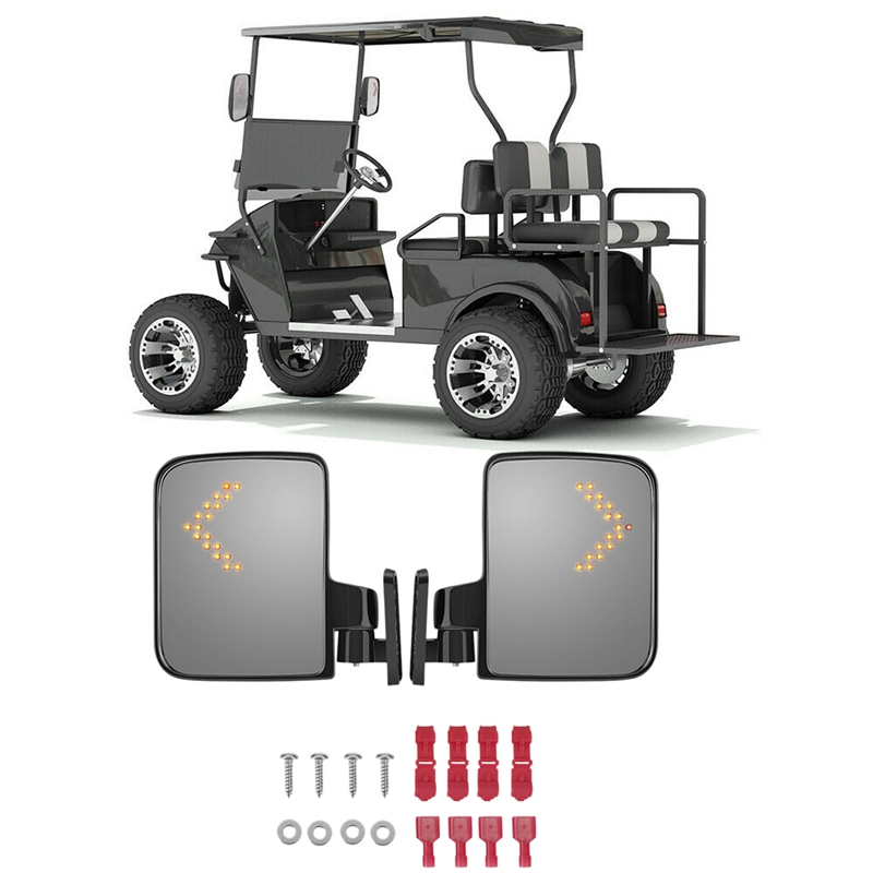Side Rearview Mirror With Turn Signal Fit Golf Cart Club Car For Yamaha EZGO TXT Drive