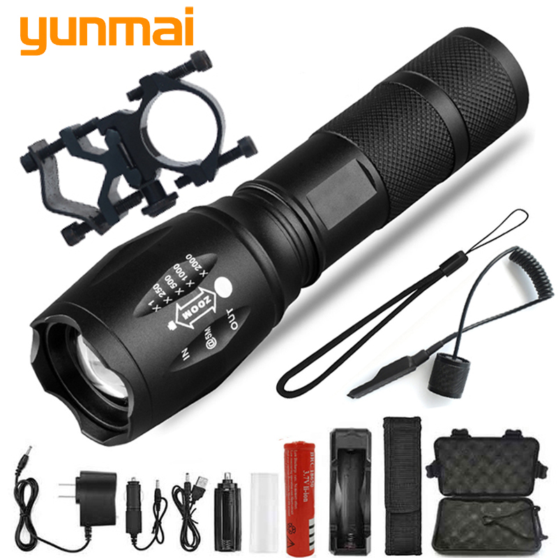 Led Flashlight Ultra Bright Waterproof Torch T6/L2/Q5 5 Color Zoomable 5 Switch Modes 18650 Chargeable Battery For Outdoor