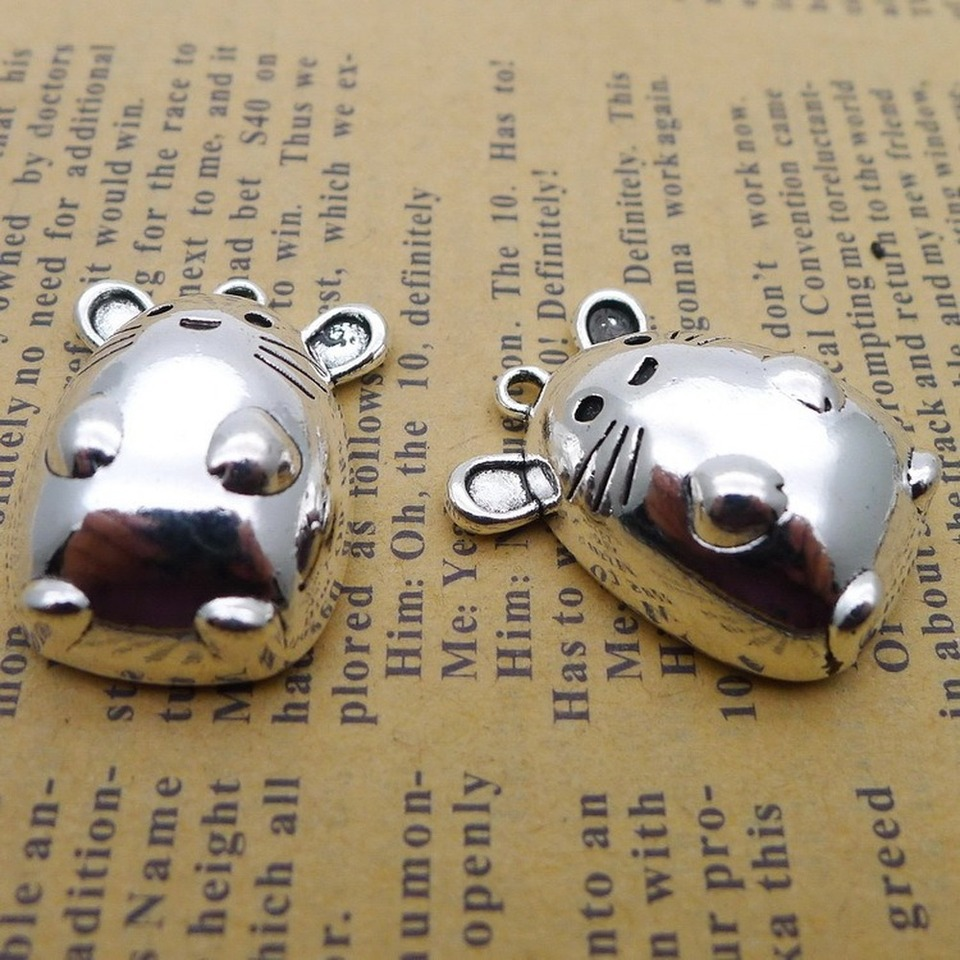 lot Cat Antique Silver Charms Pendants for Jewelry Making DIY 23*18mm 60pcs