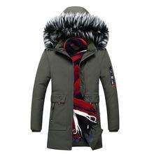 Mężczyźni gruby płaszcz z kapturem męskie zimowe ciepłe z kapturem parki z futrzanym kołnierzem wygodne na co dzień mężczyzna parki płaszcze tanie tanio ASALI COTTON Poliester REGULAR Kieszenie NONE Stałe Grube zipper men Trench men Parkas winter men jacket winter Suknem