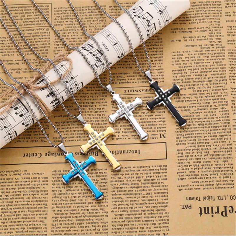 Moda popularne 60*40mm kryształ krzyż wisiorek Punk mężczyzna złoty srebrny niebieski i czarny naszyjnik modna biżuteria na prezent